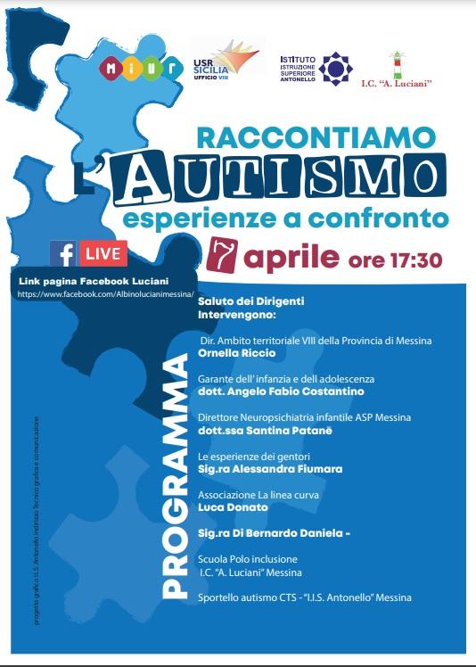 """7 aprile 2021 Incontro """"Raccontiamo l'Autismo – esperienze a confronto"""